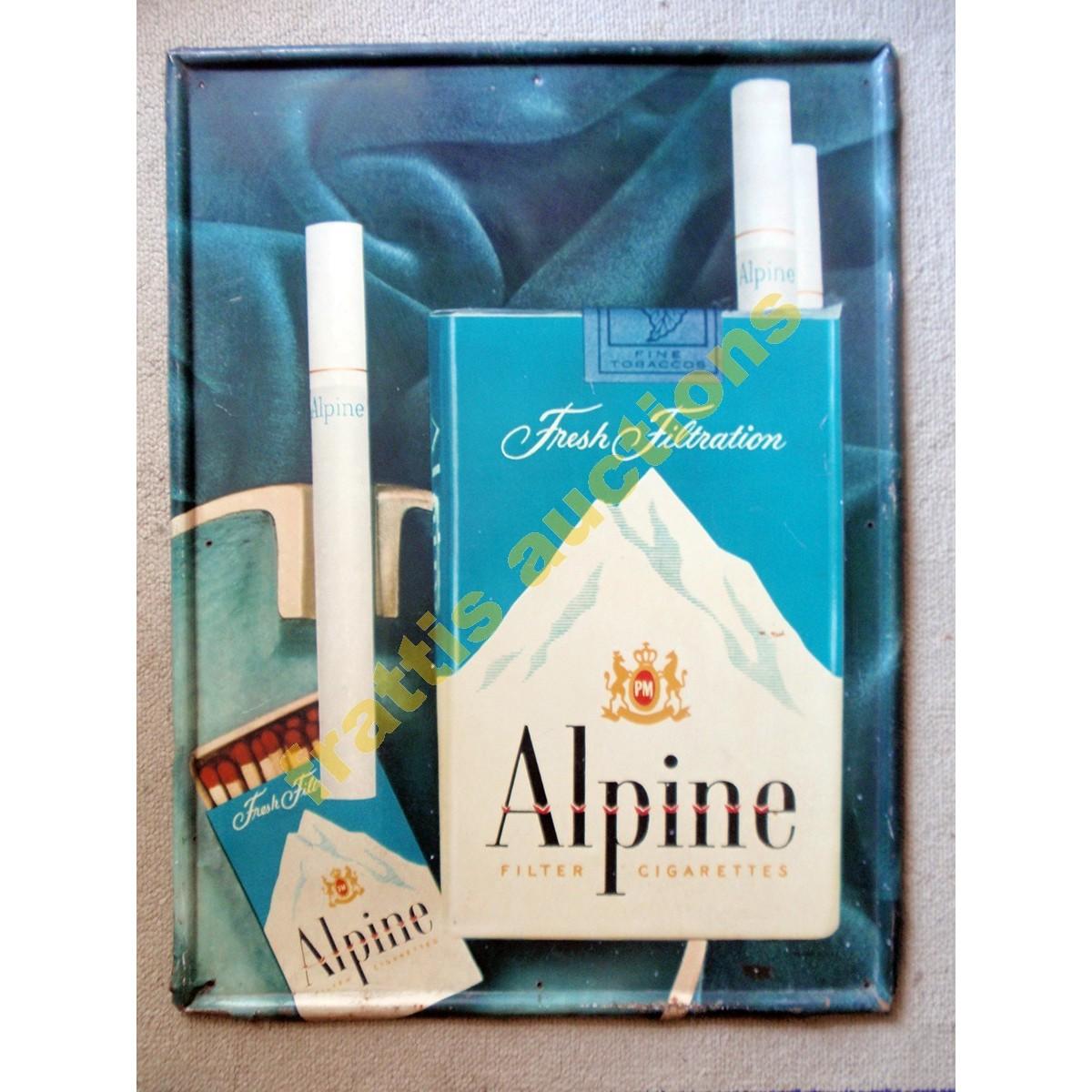 ΑLPINE Cigarettes Μεταλλική πινακίδα. ΄50s