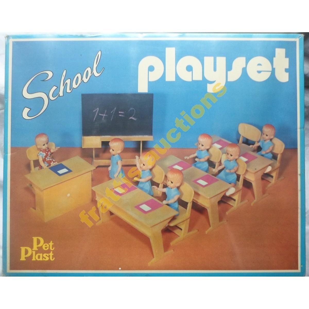 School Play Set, σκληρό πλαστικό παιγνίδι 1970΄ς σφραγισμένο.
