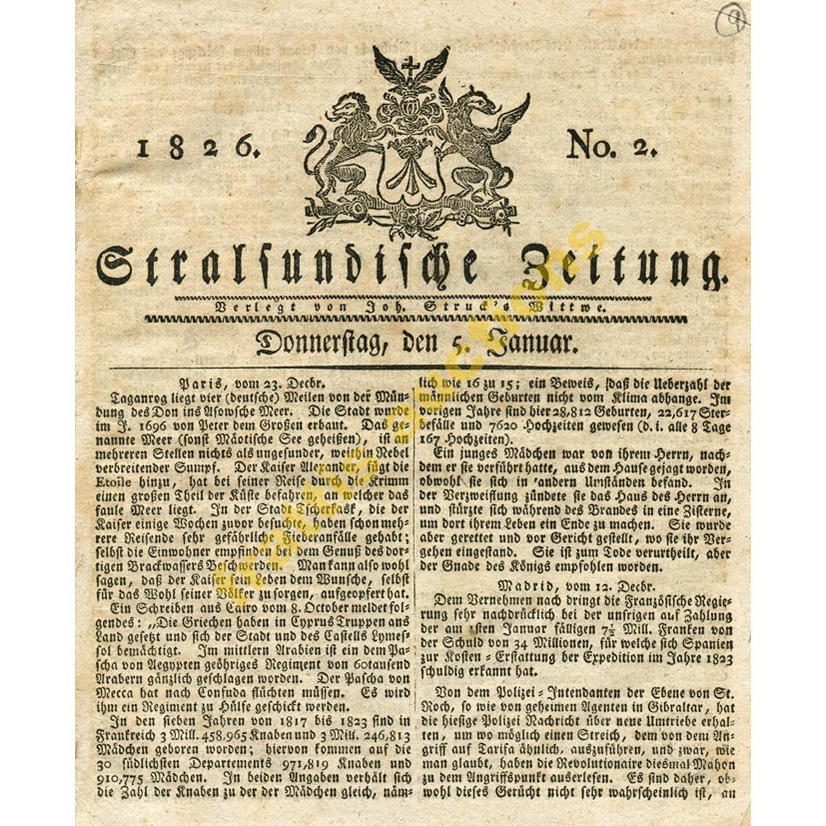 STRALSUNDISCHE ZEITUNG Νο. 2, 5 Ιαν. 1826