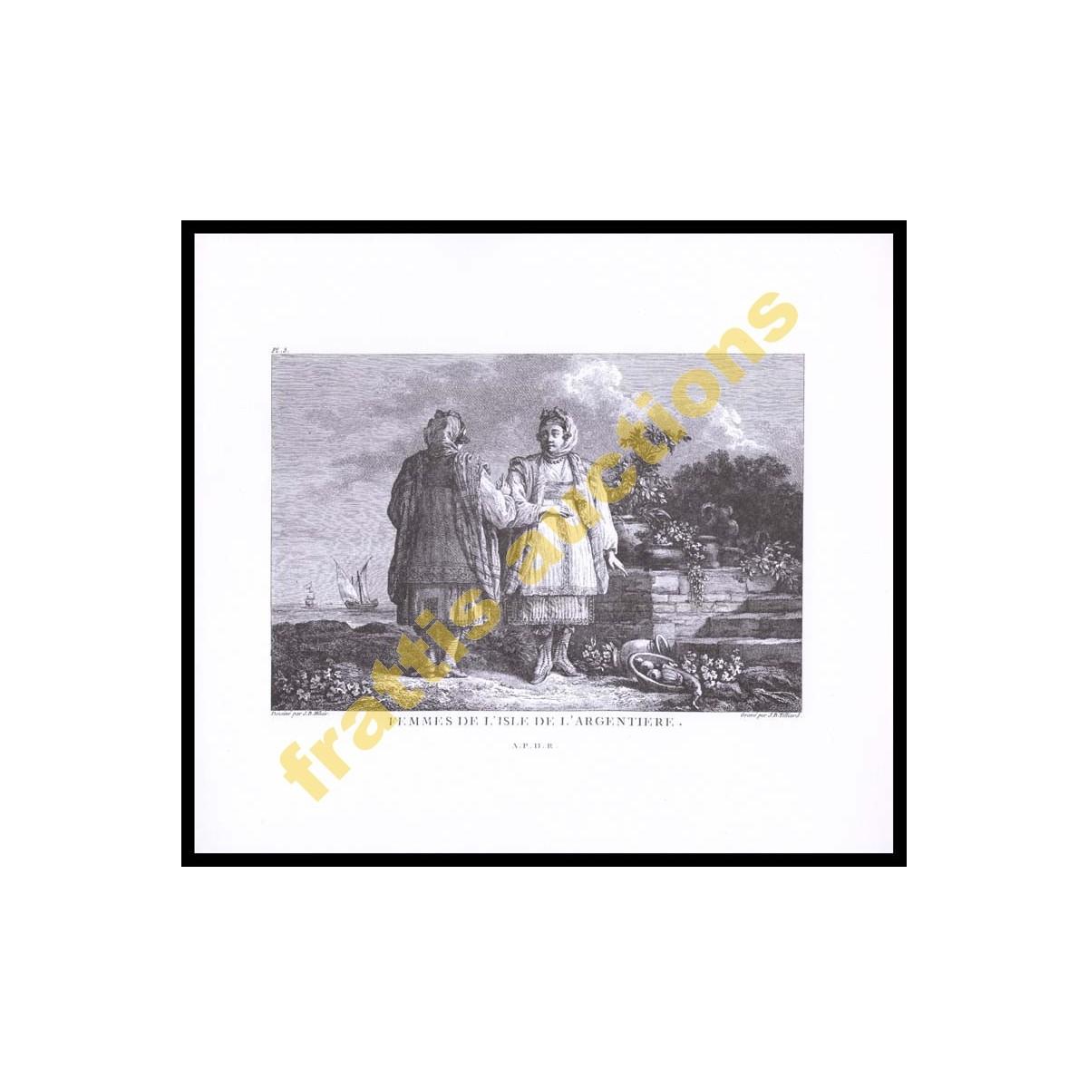 Eκτύπωση Χαρακτικού του J.B.Tilliard Γυναίκες της Κιμώλου.