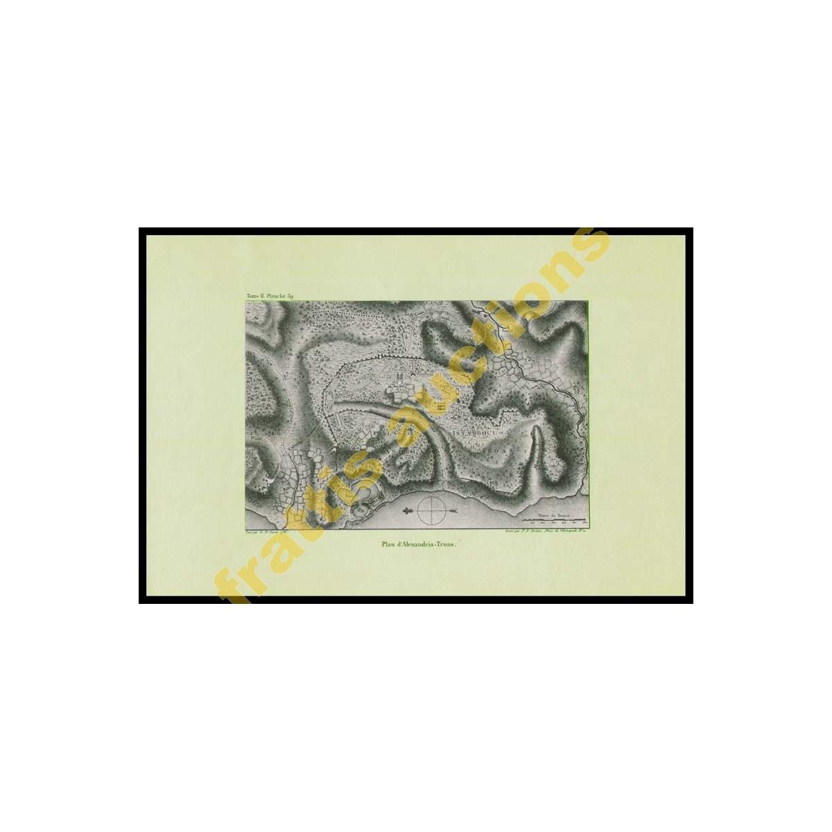 Σχέδιο της πόλης και του λιμανιού της Ρόδου , εκτύπωσις χαρακτικού.