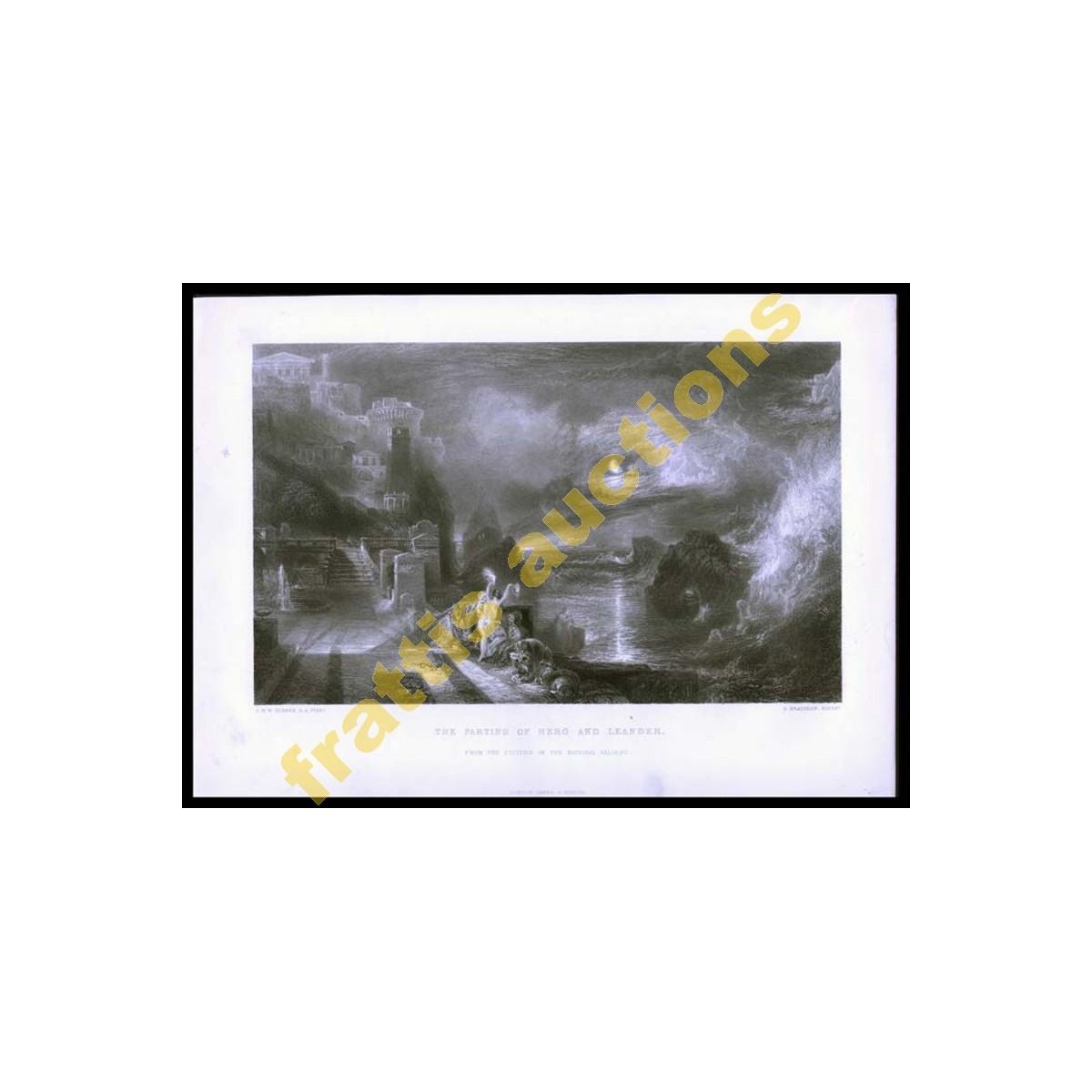 Η φυγή της Ηρώς και του Λέανδρου, εκτύπωσις χαρακτικού.