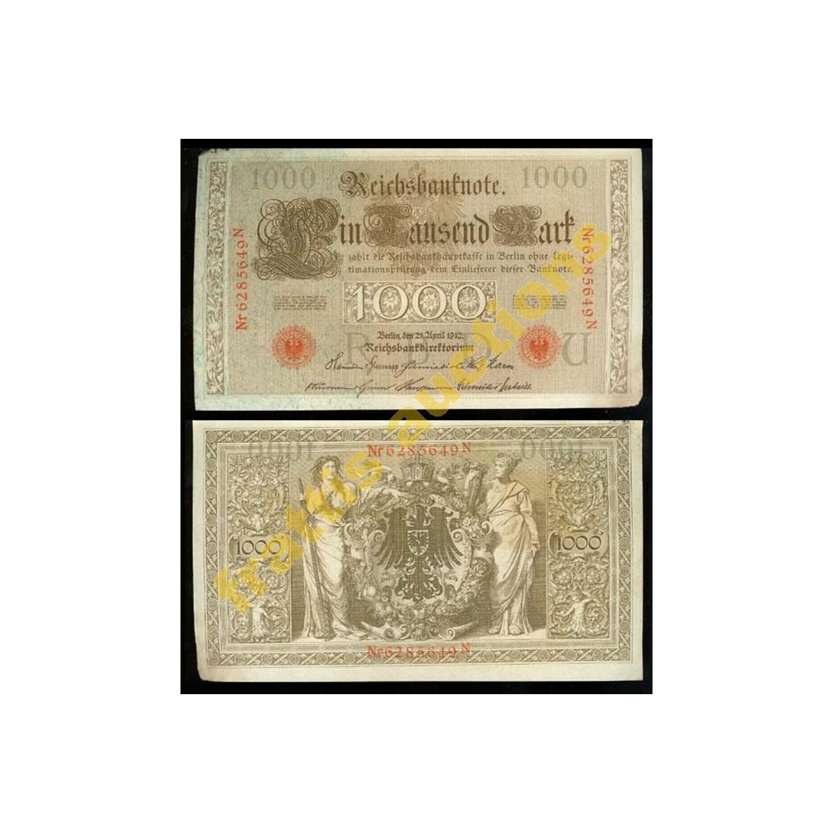 Γερμανικό χαρτονόμισμα 1.000 μάρκων,1910.