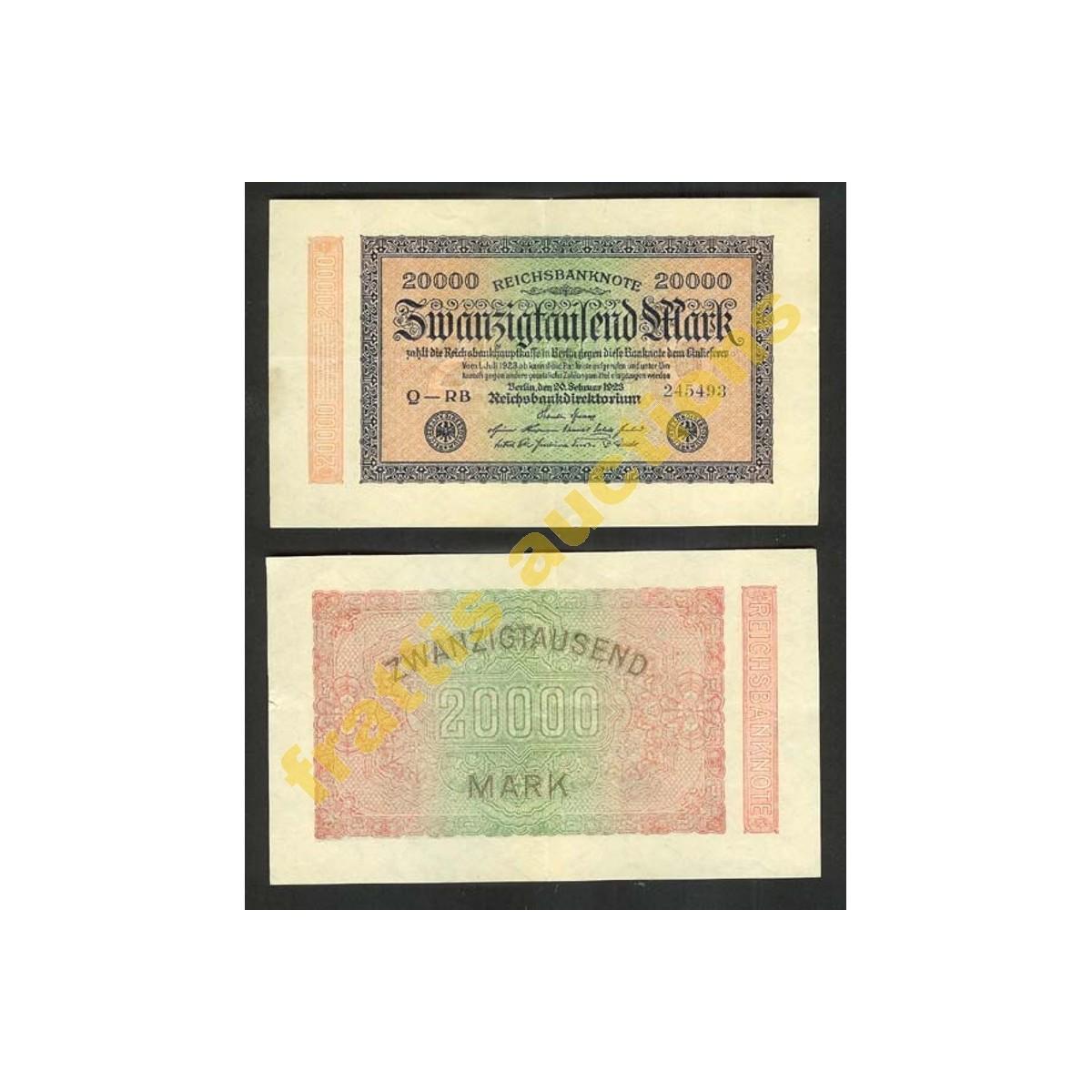 Γερμανικό χαρτονόμισμα 20.000 μάρκων,1923.