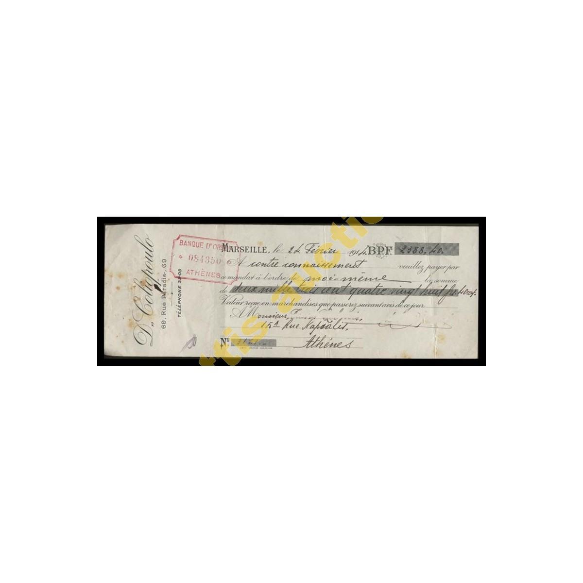 D. Coliopoulos, Banque d' Orient. Επιταγή πληρωμής 1914.