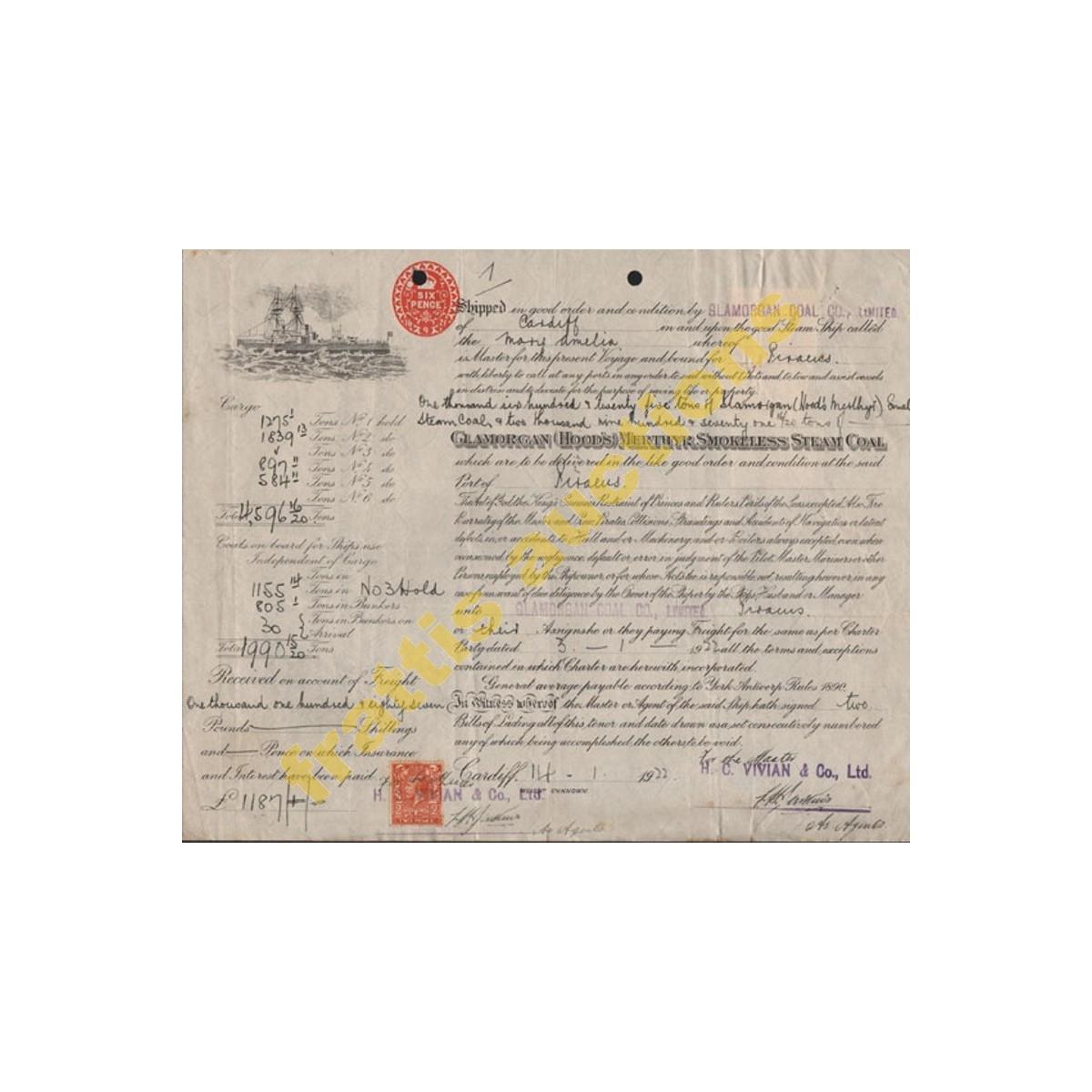 The Glamorgan Coal Company, Limited. Έγγραφο φόρτωσις 1922.