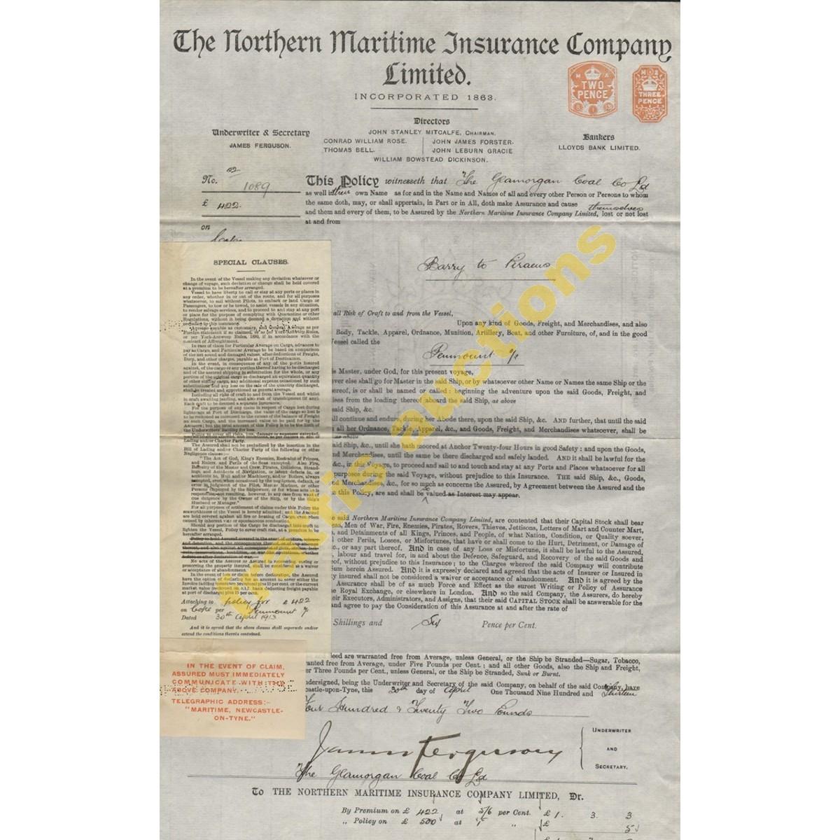 Ασφαλιστήριο εμπορεύματος 1913.