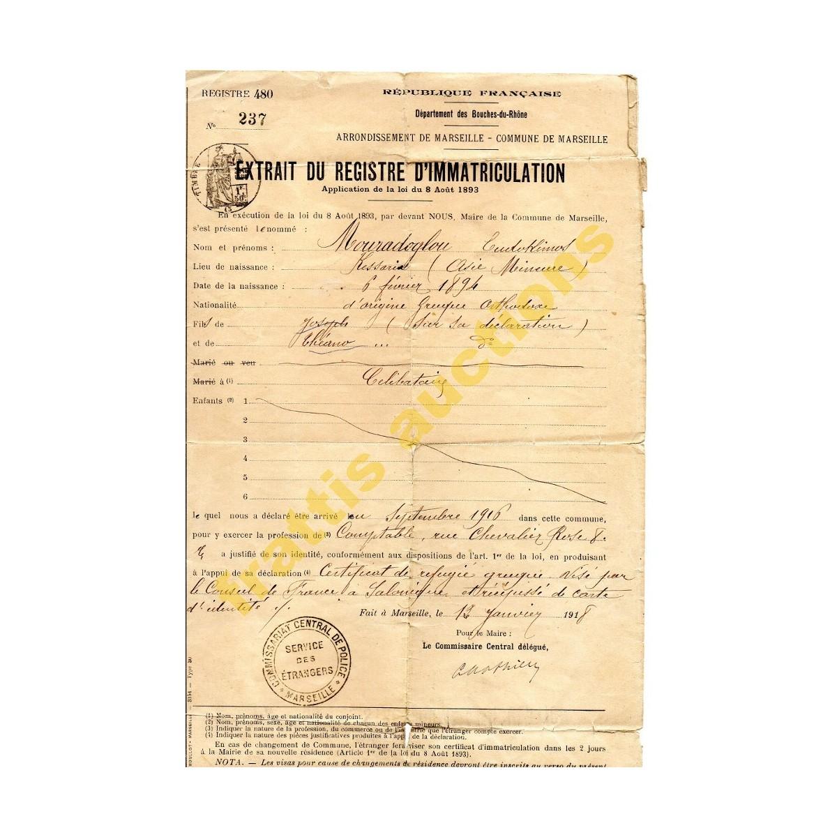 Γαλλική Δημοκρατια, Μητρώο εγγραφής, Υπηρεσία Αλλοδαπών,1918.