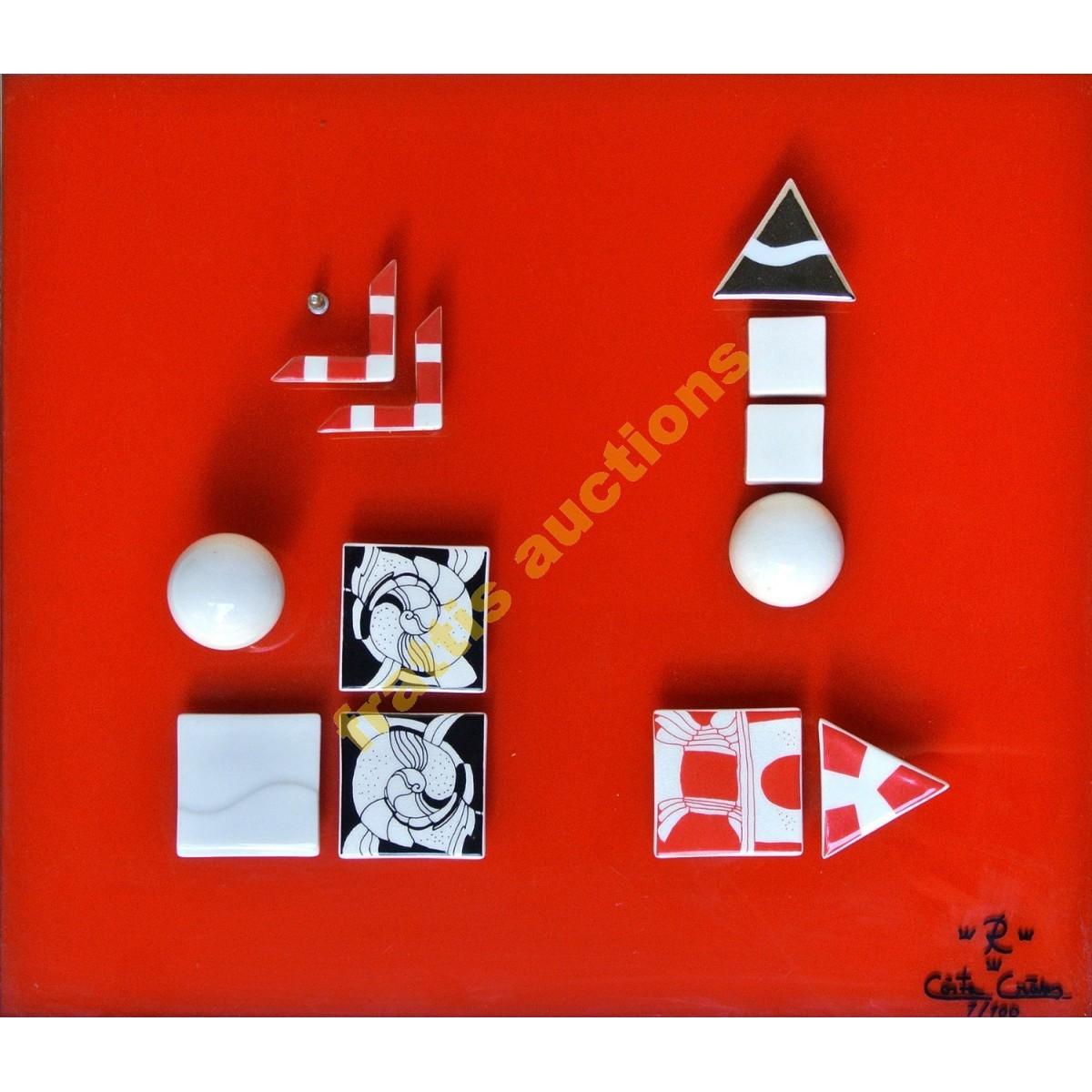 ROSTRAND  Porcelain. Τρεις συνθέσεις από πορσελάνη μετάλλο επί γυάλινης επιφάνειας σε μεταλλικές κορνίζες