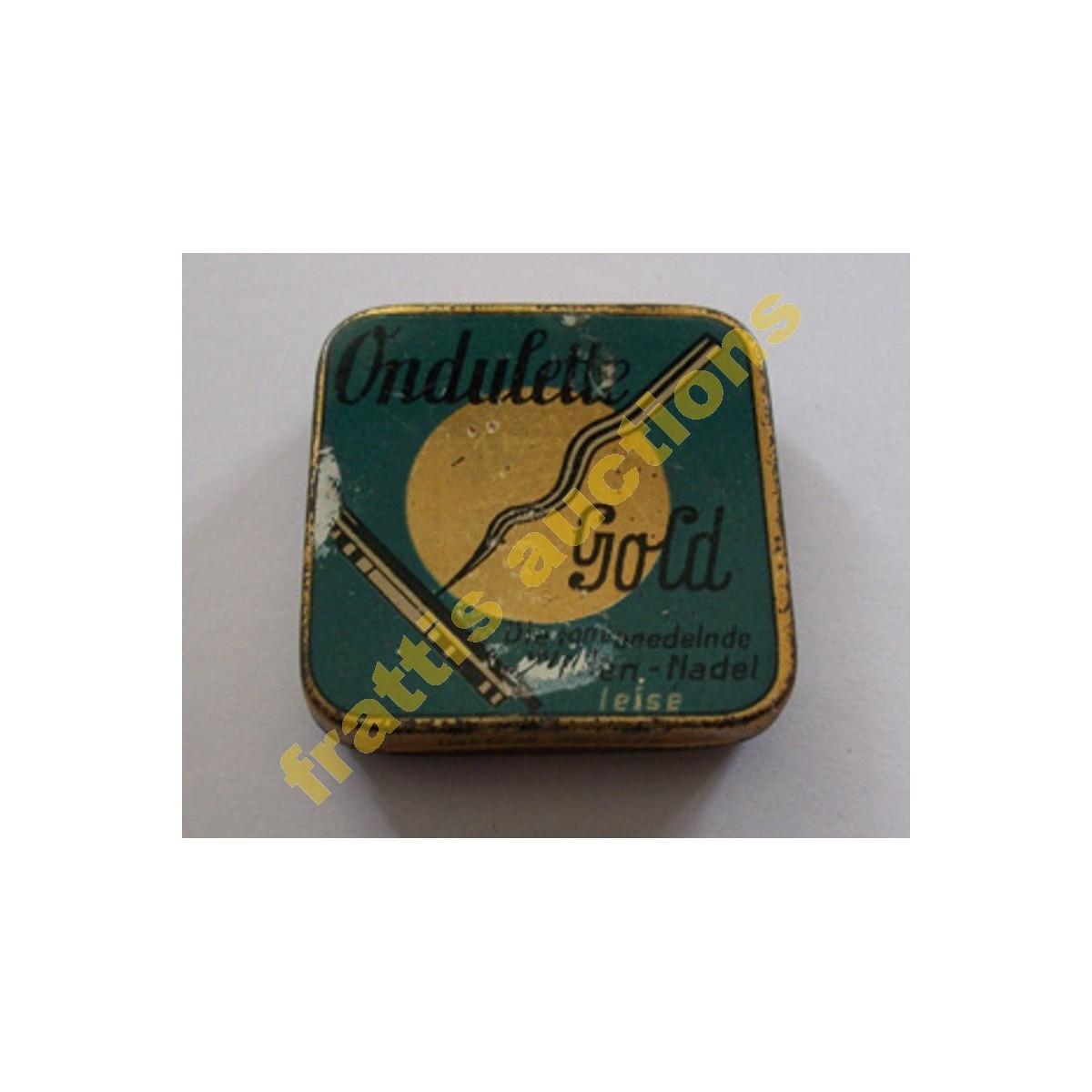 Μεταλλικό κουτάκι με βελόνες γραμμοφώνου, Ondulette gold. Γερμανία.