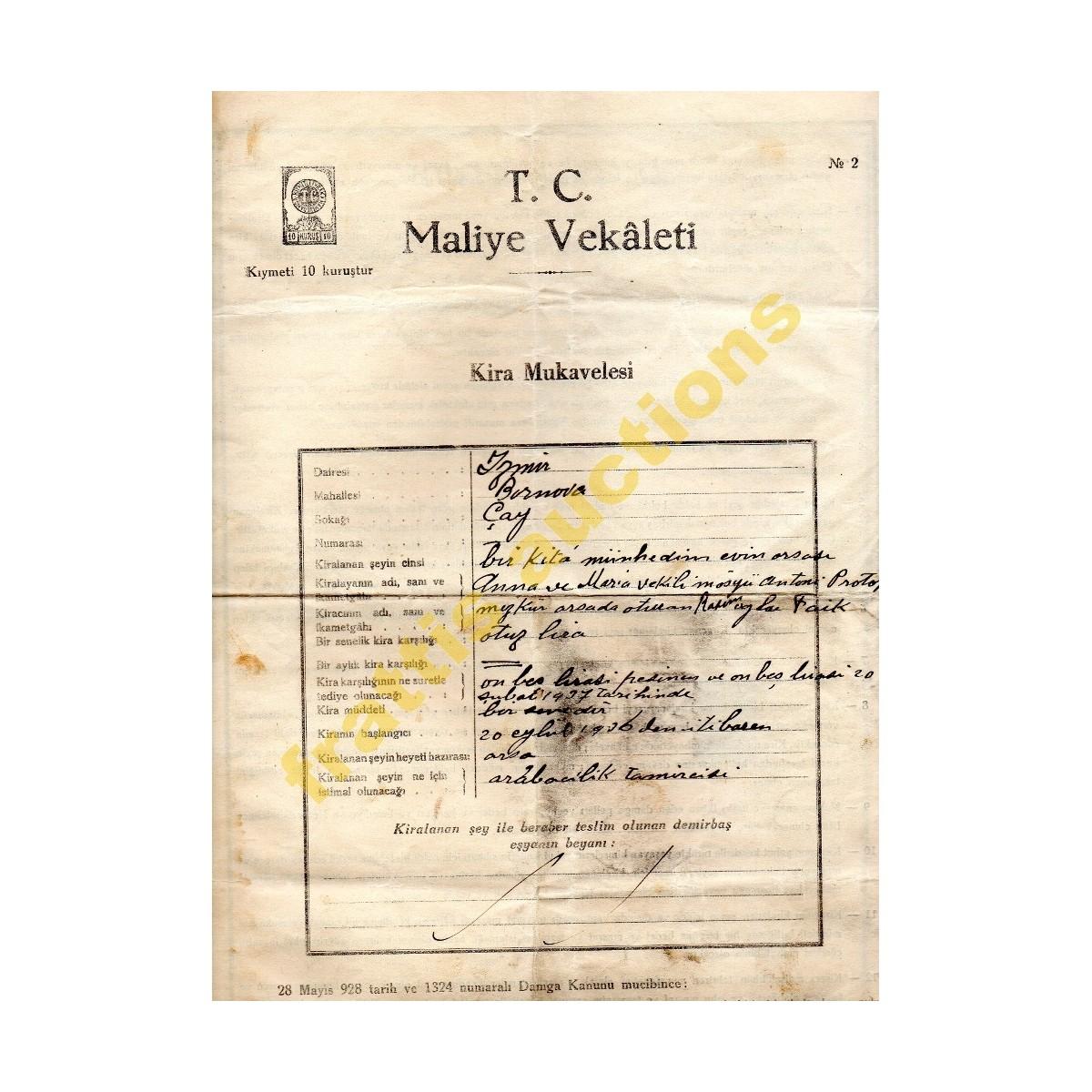 Σμύρνη 1936, Συμφωνητικό μίσθωσης στο Μπουρνόβα.