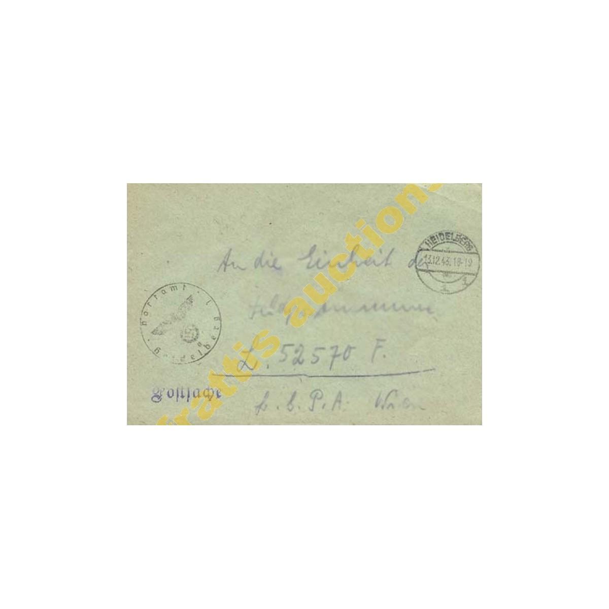 Φάκελος με 2 σφραγίδες HEIDELBERG 13.12.43 .