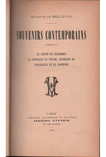 Souvenirs Contemporains,...
