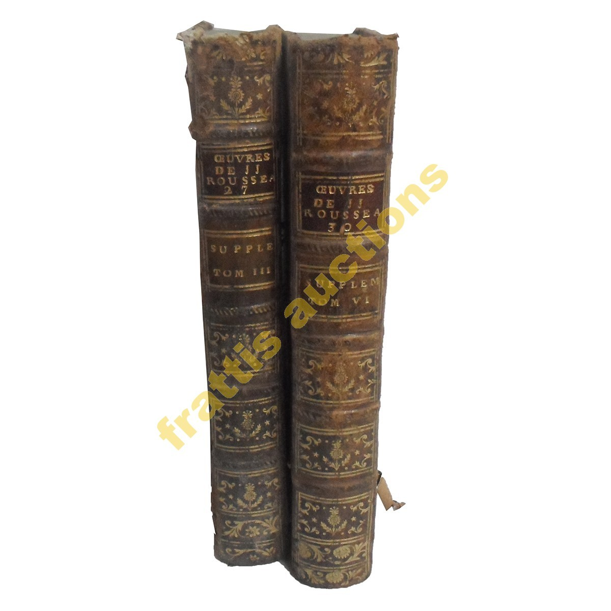 Oeuvres de JJ Rousseau, Bιβλίο 30(ΙΙΙ) &27(VI), 18ος αιώνας.