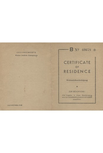 CERTIFICATE OF RESIDENCE.