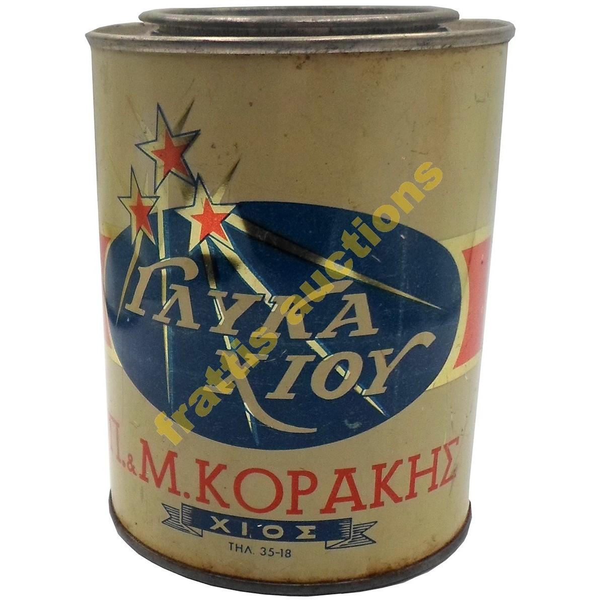 Π. & Μ. Κοράκης, Γλυκά Χίου, Μεταλλικό κουτί.